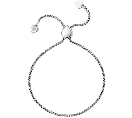 Sterling Heart Adjustable Bracelet, 5.9g by Silver Style