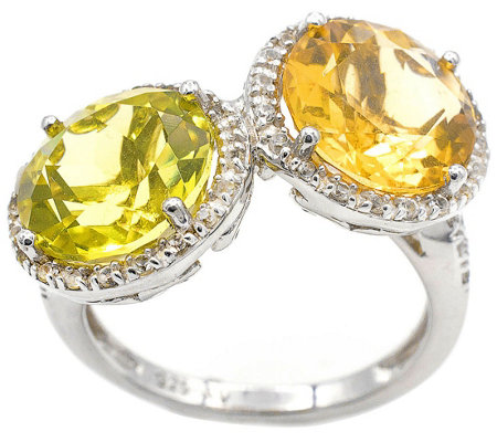 Sterling 6.65 cttw Citrine & Green Quartz Rin g