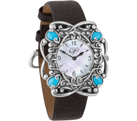 Carolyn Pollack Sterling Sleeping Beauty Turquoise Watch