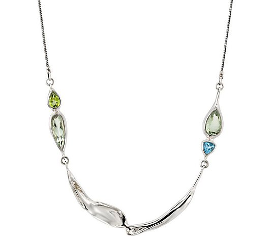 "Hagit Sterling 19"" Multi-Gemstone Station Necklace"