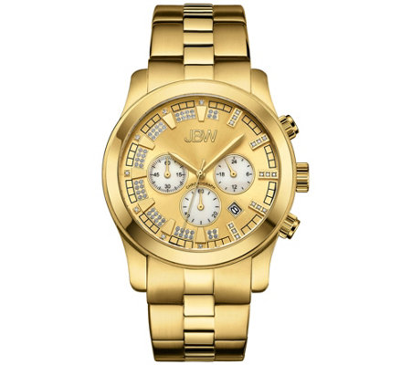 JBW Men's Delano 1/5 cttw Diamond 18K Gold-Plated Watch