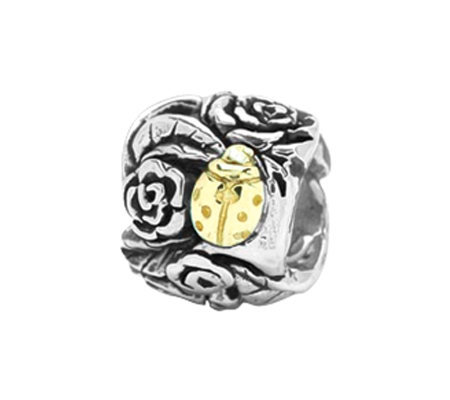 Prerogatives Sterling and 14K Gold Ladybug Floral Bead