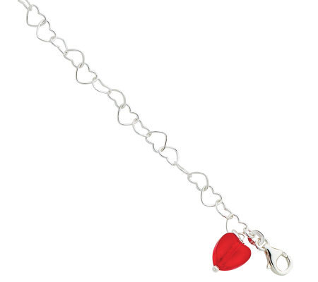 Sterling Red Crystal Heart Link Anklet