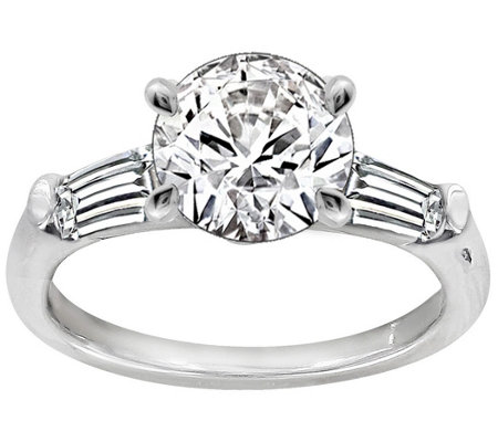 Diamonique 2.50 cttw Round & Baguette Ring, Platinum Clad