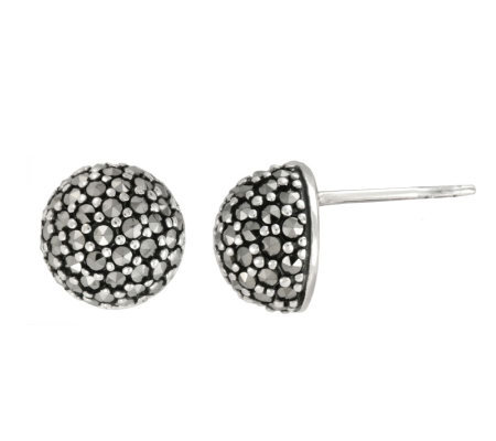 Suspicion Sterling Marcasite Small Domed Stud Earrings