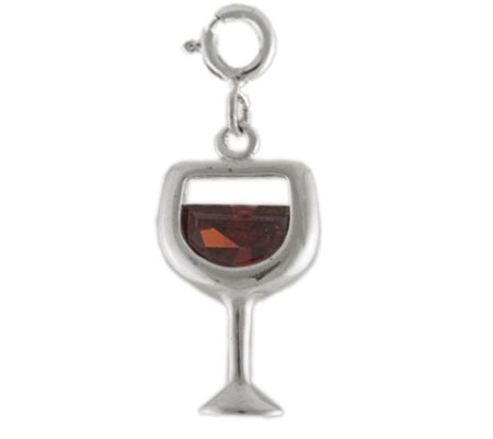 Sterling Wine Glass Charm with Red Cubic Zirconia Accent