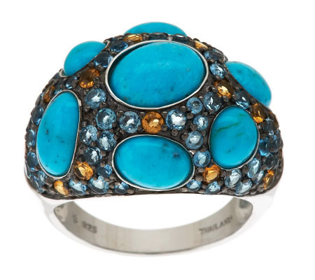 """As Is"" Turquoise & 1.75 ct tw Multi-Gemstone Sterling Ring"