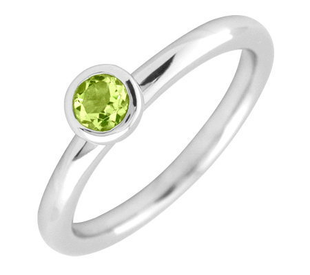 Simply Stacks Sterling 4mm Round Peridot Solitaire Ring