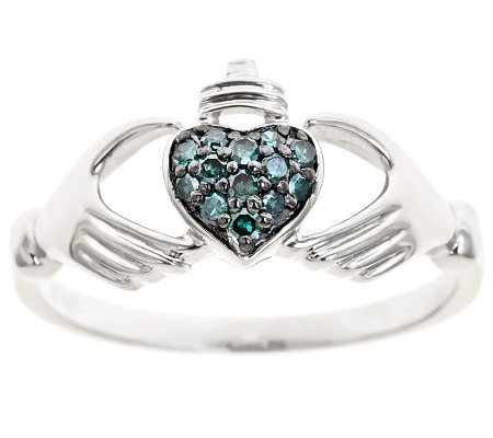 Blue Diamond Claddagh Ring, Sterling, 1/10cttwby Affinity