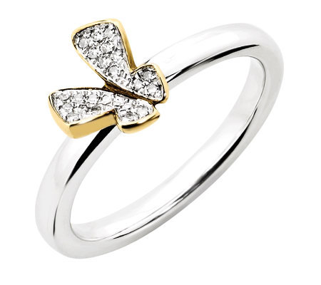 Simply Stacks Sterling Two-Tone Diamond Butterfly Ring
