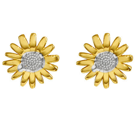 Polished Two-Tone Daisy Stud Earrings, 14K Gold