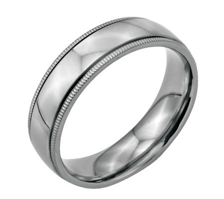 Stainless Steel 6mm Polished Milgrain Ring