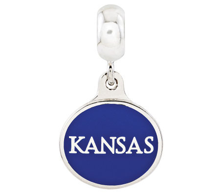 Sterling Silver University of Kansas Dangle Bead