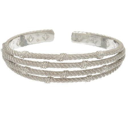 Judith Ripka Sterling Multi Row Cuff Bracelet