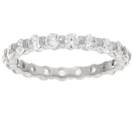 Diamonique 1.60 cttw Eternity Band Ring, Sterling or 14K Clad