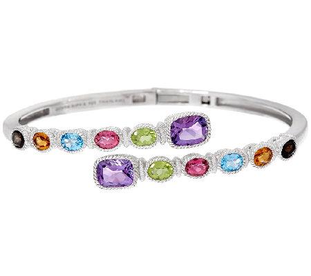 Judith Ripka Sterling 5 25 Cttw Multi Gemstone Cuff Bracelet