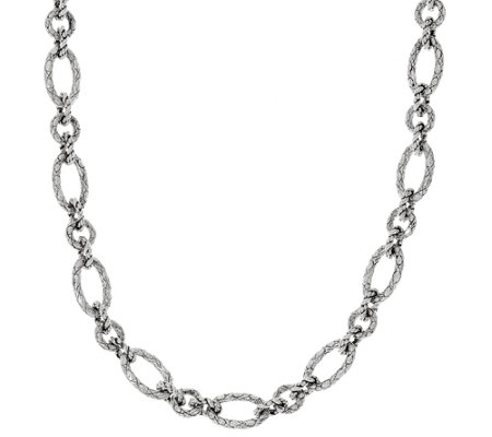 "JAI Sterling 90.0g 22"" Croco Texture Link Necklace"