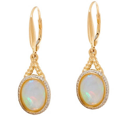 Ethiopian Opal Rope Design Leverback Earrings 14k Gold