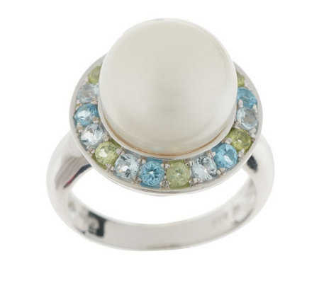 """As Is"" Honora Cultured Pearl 11.0mm Button & Multi-Gemstone Sterling Ring"