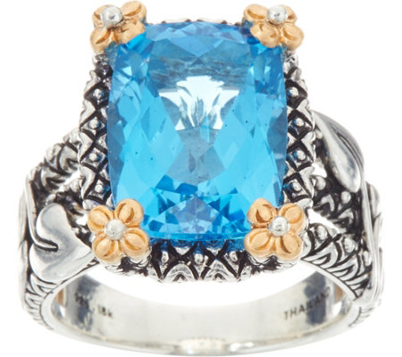 Barbara Bixby Sterling & 18K 9.50 cts Blue Topaz Vine Ring