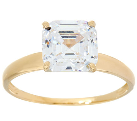 Diamonique 3.00 cttw Solitaire Ring, 14K Yellow Gold