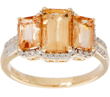 Emerald Cut 3-Stone Imperial Topaz Ring, 14K Gold 2.50 cttw