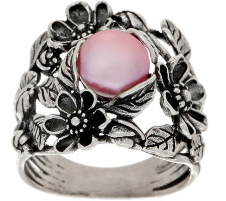 Or Paz Sterling Cultured Pearl Floral Ring
