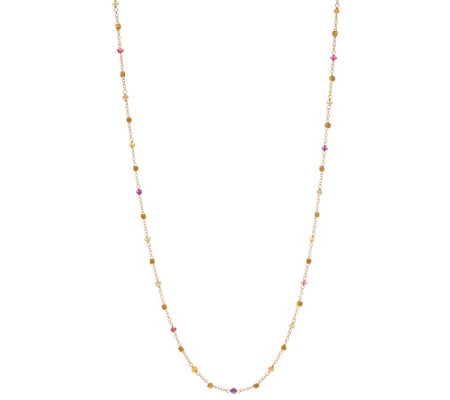 "Italian Gold 36"" Multi-Bead Gemstone Necklace 14K Gold 5.4g"