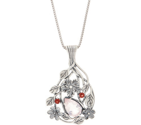 Or Paz Sterling Silver 2 60 Cttw Floral Pendant With Chain