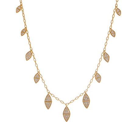Melinda Maria Simulated Gemstone Leaf Fringe Necklace Reese