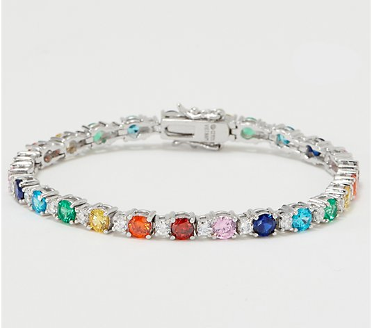Colors of Diamonique Alternating Tennis Bracelet Sterling Silver