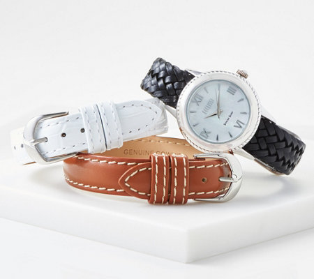 Ecclissi Sterling Silver Watch W 3 Interchangeable Leather Straps
