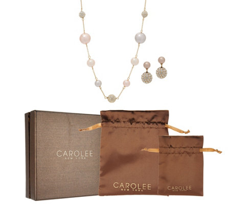 As Is Carolee Bryant Park Simulated Pearl Station Necklace Set