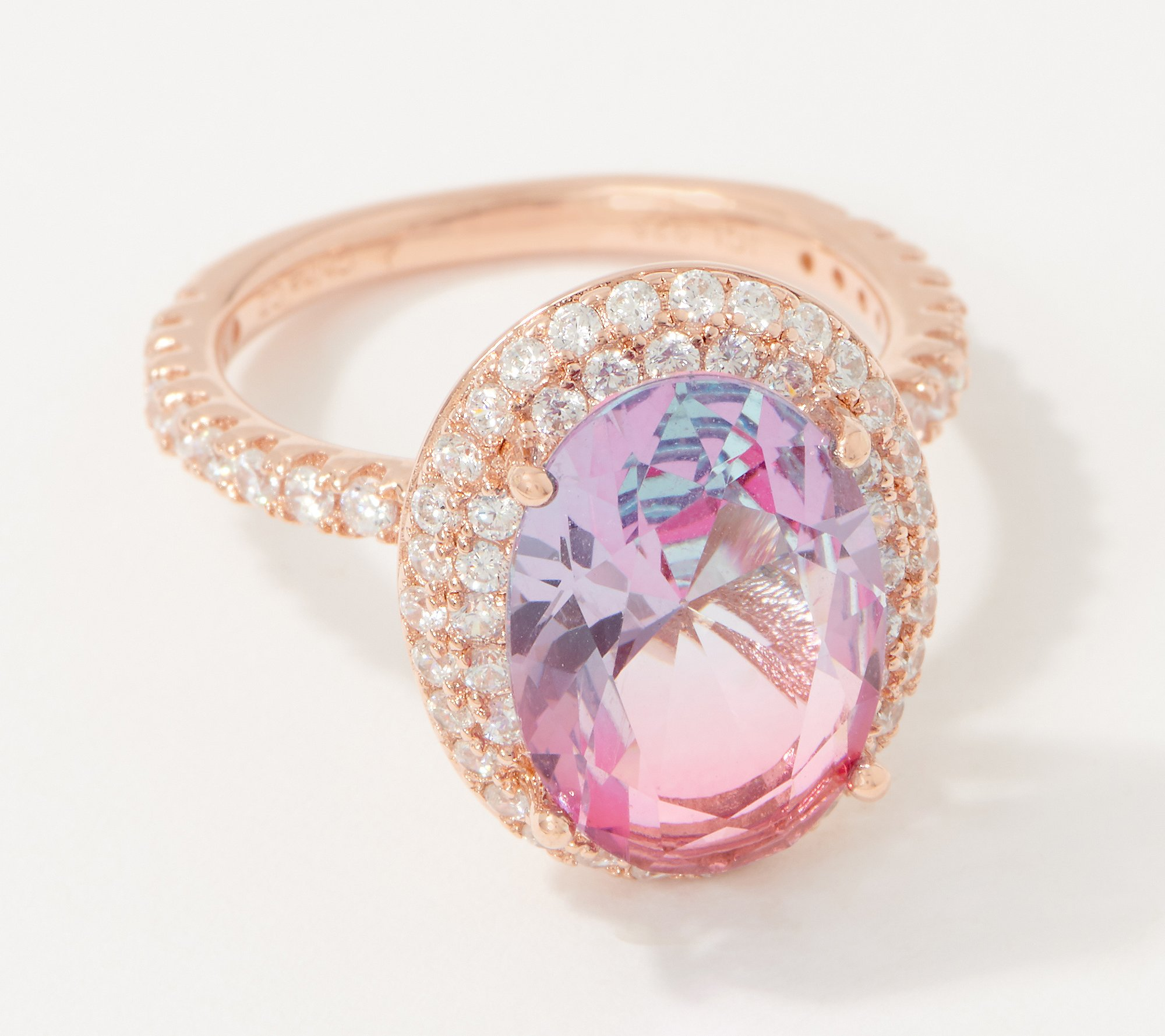 Colors Of Diamonique Ombre 9 5 Carat Oval Ring Sterling Silver Qvc Com