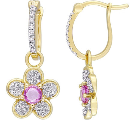 14K 0.60 cttw Pink Sapphire & 1/5 cttw DiamondFlower Earrings