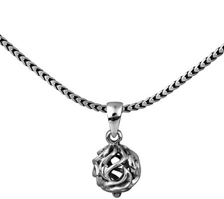 Or Paz Sterling Men's Open Swirl Bead Pendant w/ Chain
