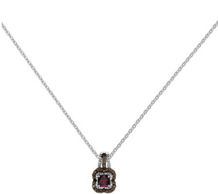 "Sterling Garnet, Smokey Quartz & Diamond Pendant w/18"" Chain"
