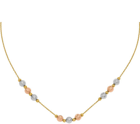 14K Tri Colored Diamond-cut Beaded Necklace, 4.9g