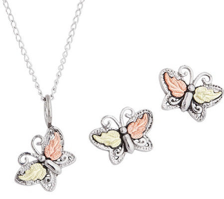 Black Hills Butterfly Pendant & Earrings Set Sterling, 12K