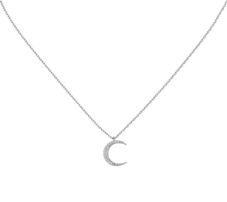 Italian Silver Crescent Moon Necklace Sterling