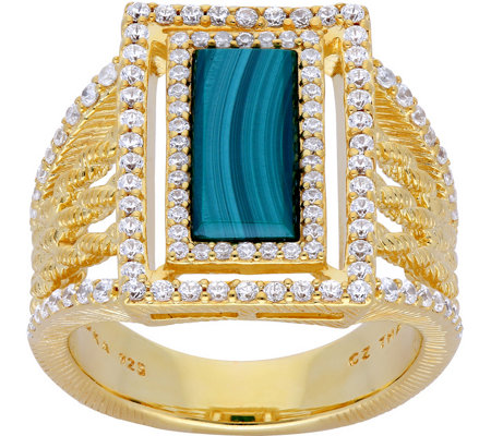 Judith Ripka Sterling & 14K Clad Green Malachite Ring