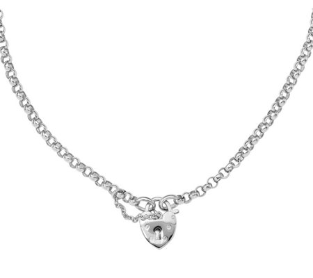 Italian Silver Heart Lock Rolo Necklace, Sterling, 19.2g