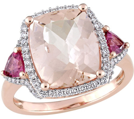 14K 4.9ct Morganite & Pink Tourmaline 1/3ct Diamond Halo Ring