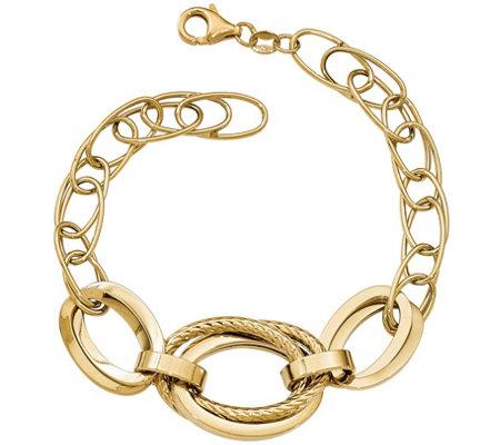 Italian Gold Double Link Bracelet 14k 7 8g