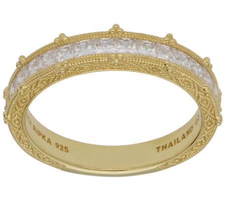 Judith Ripka 14K Clad Princess-Cut Diamonique Band Ring