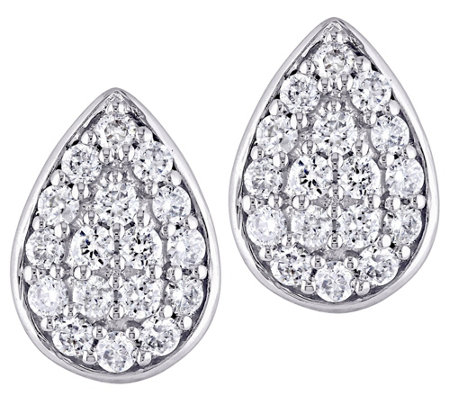 Affinity 14K 1/3 cttw Diamond Cluster Pear StudEarrings