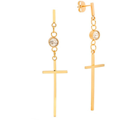 Steel by Design Stainless Steel Cross Drop Earrings