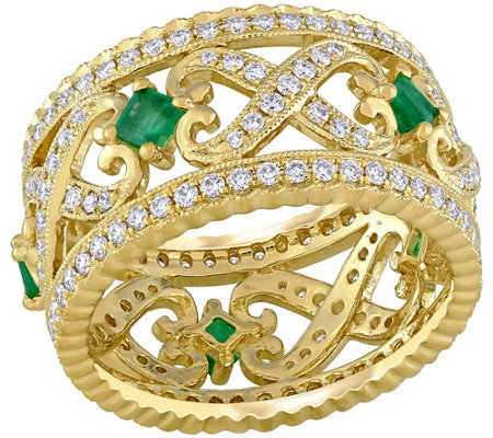 14K 0.40 cttw Emerald & 9/10 cttw Diamond Vintage-Style Ring
