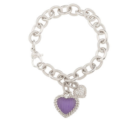 "Judith Ripka Sterling 7"" Rolo Link Bracelet with Gemstone Heart"