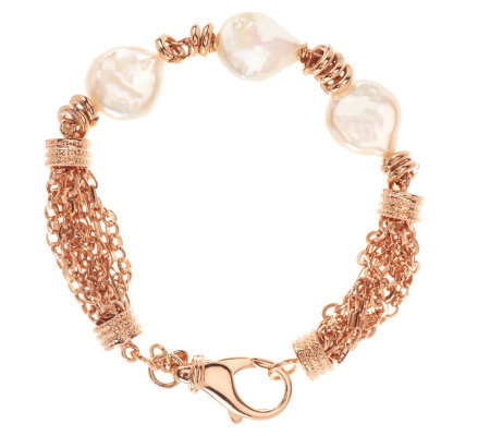 "Honora Cultured Pearl 14.0mm Coin 8"" Multi-chain Bronze Bracelet"
